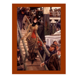 Victorian Lady Leave the Ship Postcard