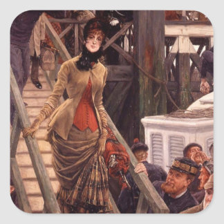 Victorian Lady Leave the Ship Square Sticker