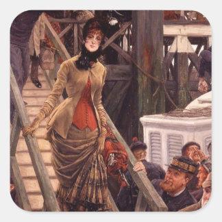 Victorian Lady Leave the Ship Square Sticker