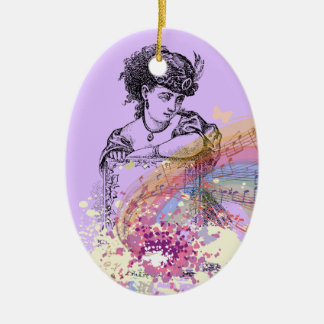 Victorian Lady Music ColorSplash Oval Ornament