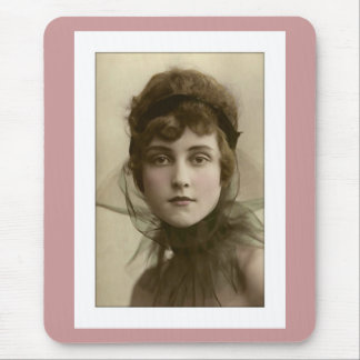 victorian lady net high collar mouse pad