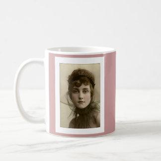 victorian lady net high collar classic white coffee mug