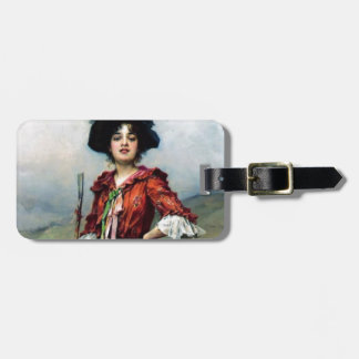 Victorian lady painting tags for bags