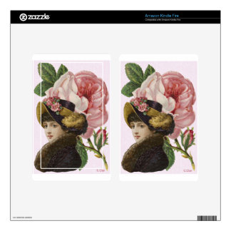 Victorian Lady Pink Roses Skin For Kindle Fire