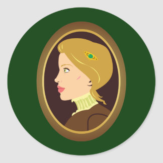 Victorian Lady Portrait Classic Round Sticker