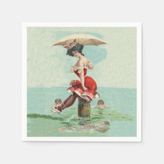 Victorian Lady Red Bathing Suit Swimming Admirers Paper Napkin