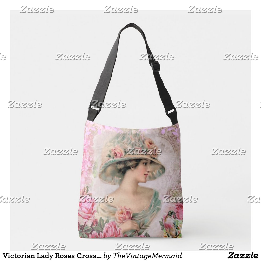 Victorian Lady Roses Cross Body Tote Bag