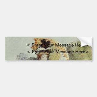 Victorian Lady–Vintage French Fashion – Aqua Dress Bumper Sticker
