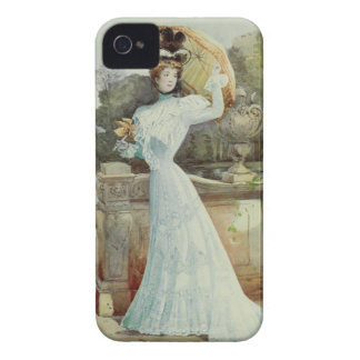 Victorian Lady–Vintage French Fashion – Aqua Dress Case-Mate iPhone 4 Case