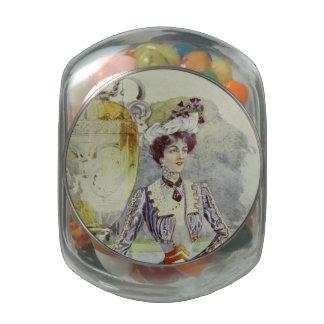Victorian Lady–Vintage French Fashion – Aqua Dress Jelly Belly Candy Jar