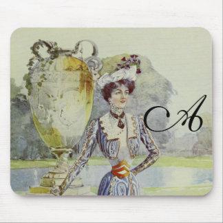 Victorian Lady–Vintage French Fashion – Aqua Dress Mousepads