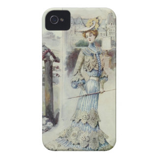 Victorian Lady –Vintage French Fashion- Blue Dress iPhone 4 Case-Mate Case