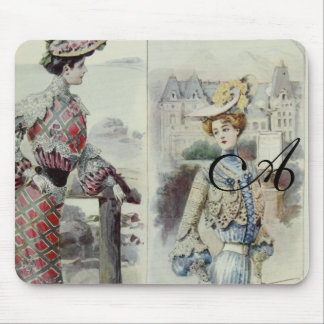 Victorian Lady –Vintage French Fashion- Blue Dress Mouse Pads