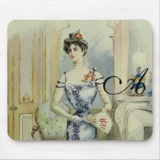 Victorian Lady–Vintage French Fashion – Blue Dress Mouse Pad