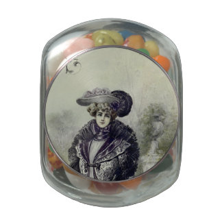 Victorian Lady–Vintage French Fashion–Gray Dress Glass Jars