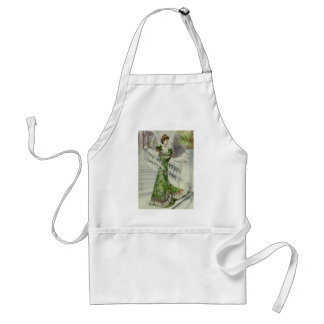 Victorian Lady –Vintage French Fashion–Green Dress Adult Apron
