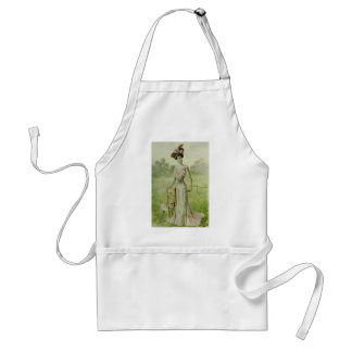 Victorian Lady–Vintage French Fashion–Green Dress Adult Apron
