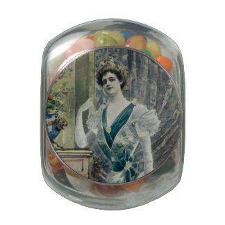 Victorian Lady –Vintage French Fashion-Green Dress Jelly Belly Candy Jar