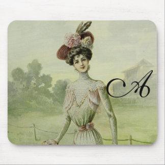 Victorian Lady–Vintage French Fashion–Green Dress Mousepad