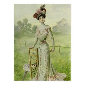 Victorian Lady–Vintage French Fashion–Green Dress Postcard