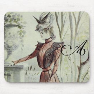 Victorian Lady–Vintage French Fashion–Peach Dress Mousepads