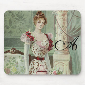 Victorian Lady–Vintage French Fashion –Pink Dress Mouse Pads