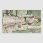 Victorian Lady–Vintage French Fashion –Pink Dress Rectangular Sticker