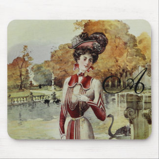 Victorian Lady – Vintage French Fashion – Red Dres Mouse Pad