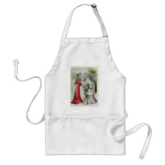 Victorian Lady – Vintage French Fashion –Red Dress Adult Apron