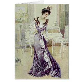 Victorian Lady–Vintage French Fashion–Violet Dress Card