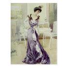 Victorian Lady–Vintage French Fashion–Violet Dress Postcard
