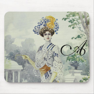 Victorian Lady–Vintage French Fashion–White Dress Mouse Pads
