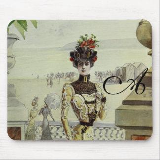 Victorian Lady–Vintage French Fashion-Yellow Dress Mousepad