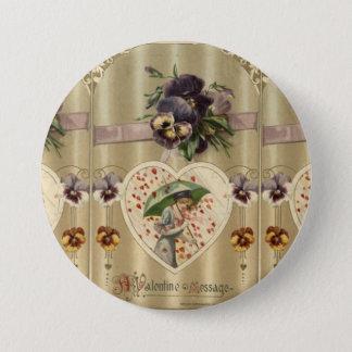Victorian Lady Vintage Valentine's Day Pin Button