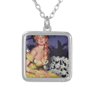 Victorian Lady Waiting on Bench Square Pendant Necklace