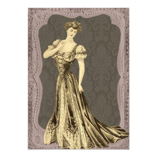 "Victorian Lady Wedding Invitations 5"" X 7"" Invitation Card"