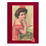 Victorian Lady Will You be my Valentine Postcard