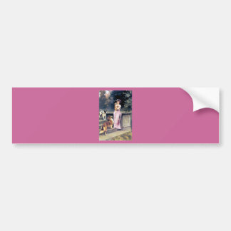 Victorian lady with dog pets bumper sticker
