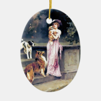 Victorian lady with dog pets ceramic ornament