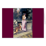 Victorian lady with dog pets greeting card