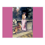 Victorian lady with dog pets post card