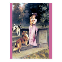 Victorian lady with dog pets postcard