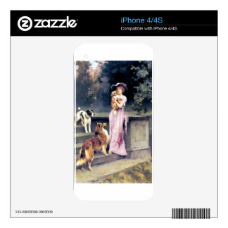 Victorian lady with dog pets iPhone 4S skins