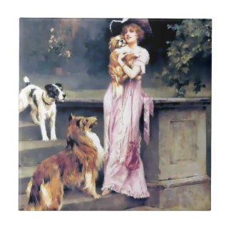 Victorian lady with dog pets ceramic tile