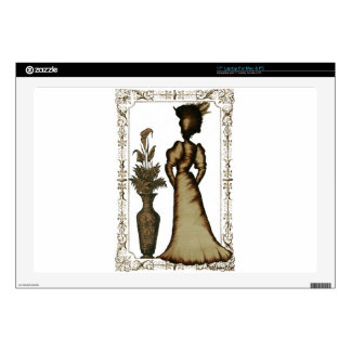 """Victorian Lady with Feathered Hat Decal For 17"""" Laptop"""