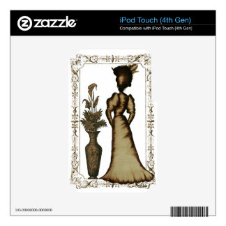 Victorian Lady with Feathered Hat Decals For iPod Touch 4G