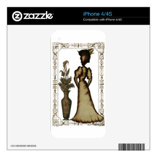Victorian Lady with Feathered Hat Skins For iPhone 4S