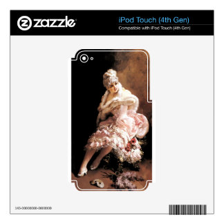 Victorian Lady with flowers and mask painting Skin For iPod Touch 4G
