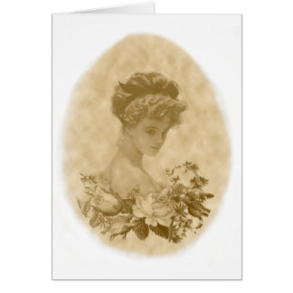Victorian lady with flowers greeting card