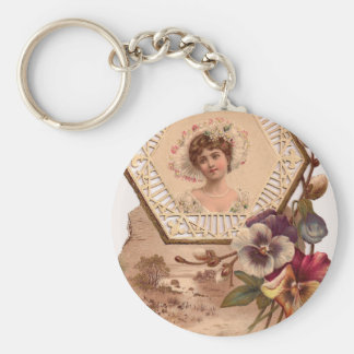 Victorian Lady With Hat Basic Round Button Keychain